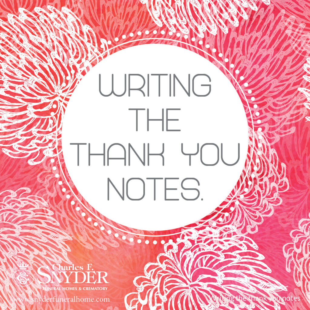 Writing the thank you notes