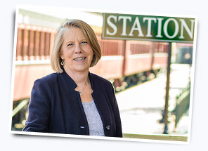 Susan Bleacher at the Strasburg Railroad in Lancaster County, PA